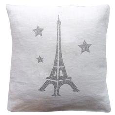 Coussin enfant blanc motif Tour Eiffel - Les Griottes