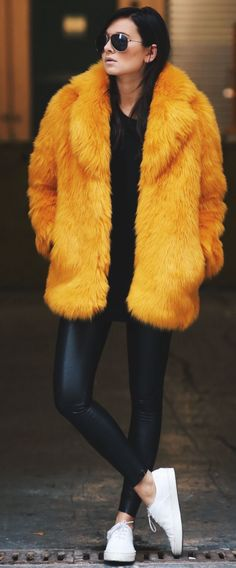Orange Faux Fur Jacket Fall Streetstyle Inspo by We Wore What