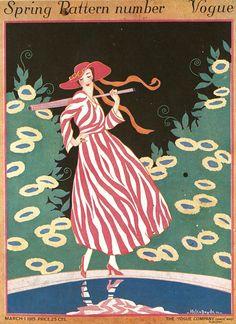 ⍌ Vintage Vogue ⍌ art and illustration for vogue magazine covers - March Helen Dryden Vogue Magazine Covers, Fashion Magazine Cover, Fashion Cover, Magazine Art, Art Deco Illustration, Fashion Illustration Vintage, Retro Poster, Vintage Posters, Vintage Art