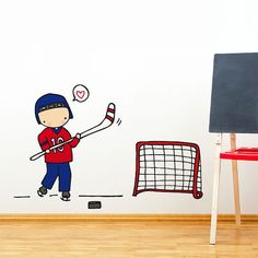 Hockey Player - Wall Decal - Wall Sticker