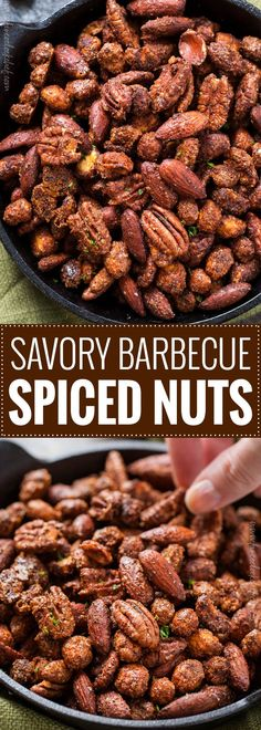Barbecue Roasted Mixed Nuts - The Chunky Chef Nut Recipes, Snack Recipes, Cooking Recipes, Candy Recipes, Savory Snacks, Healthy Snacks, Keto Snacks, Tapas, Biscuits