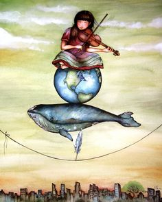 balancing act art print Illustrations by Claudia Tremblay Art Et Illustration, Illustrations, Claudia Tremblay, Whale Art, Ouvrages D'art, Anniversary Gifts For Couples, Art Wall Kids, Nursery Art, Watercolor Paintings