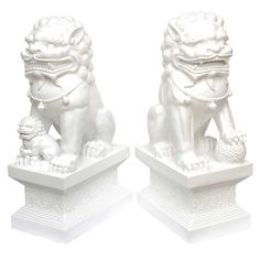 indoor/outdoor white lacquered resin foo dogs - usa - 1970s - LENGTH:  11.5 in. (29 cm)    DEPTH:  19 in. (48 cm)    HEIGHT:  37 in. (94 cm)