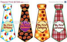 SALE First Birthday Holidays Baby Onesie Stickers Boy Necktie Neck Ties UNCUT - Christmas 1st Birthday Halloween Easter Thanksgiving and Mo. $7.03, via Etsy.
