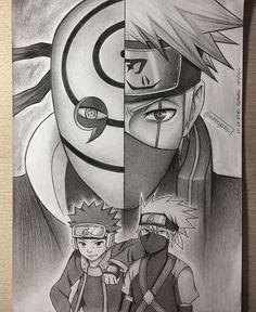 Obito Uchiha e Kakashi Hataki Anime Naruto, Art Naruto, Naruto Sketch, Anime Sketch, Manga Anime, Kakashi Drawing, Naruto Drawings, Kakashi And Obito, Naruto Shippuden Sasuke