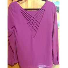 Detailed back long sleeve blouse Pretty back purple blouse! Perfect condition, only worn once. Naked Zebra Tops Blouses