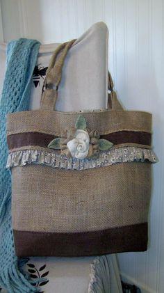 Garden Flowers Burlap Tote Bag by kakaymarie on Etsy, $85.00