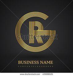 Letter GR or RG linked logo design circle G shape. Elegant gold colored letter symbol. Vector logo design template elements for company identity.