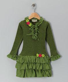 Olive Drop-Waist Dress - Toddler & Girls
