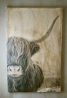 Paintings of Scottish Highlands rnrnSource by louisemariagem Watercolor Paintings Of Animals, Animal Paintings, Animal Drawings, Highland Cow Painting, Highland Cow Art, Cow Pictures, Pictures To Paint, Diy Canvas Art, Art Journal Inspiration
