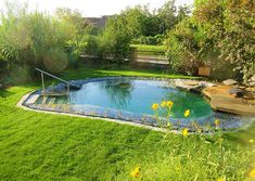 Schwimmteich Swimming pond in the evening sun The Joy Of Becoming A Father In this article I write a Small Backyard Design, Ponds Backyard, Small Backyard Landscaping, Small Patio, Patio Design, Backyard Ideas, Patio Stone, Flagstone Patio, Concrete Patio