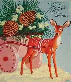 Deer with pine cone cart