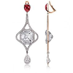There is something so desirable about the exposing of diamonds. We love to see as much as possible from every angle, and these Emerald Cut Diamond and Spinel Earrings are no exception. The total of the two Emerald Cuts is 20.34ct!!!! We wouldn't mind...