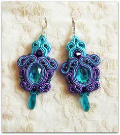 color of sea and purple - soutache earrings, HANDICRAFT via Etsy