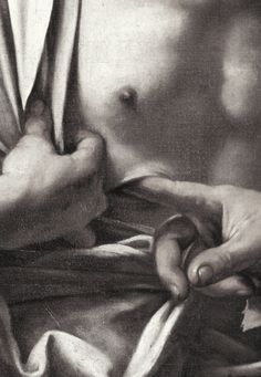 "funeral-wreaths: "" Caravaggio, The Incredulity of St. Thomas (detail), c. 1601-02 """