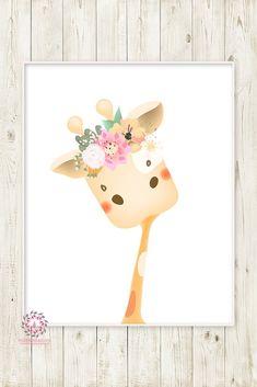 Boho Giraffe Baby Girl Nursery Wall Art Print Ethereal Whimsical Bohemian Floral Zoo Safari Animal Printable Decor