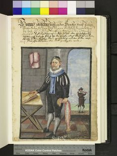"Amb. 317b.2° Folio 125 recto ""Zauscher wearing a fashionable jacket with slashed sleeves, millstone collar, BIRETT and a blue scarf. in his right hand he is holding a bunch of colorful pigtails, the left is on leather gloves. in the wall opening is outside a flute player with knee pants, millstone collar, hat and sword umgebundenen to see - it turns Zauscher as dwarf piper represents a dwarf whistle is a transverse flute."""