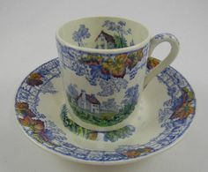 Blue Polychrome Demitasse Cup and Saucer / Bowl Spode Byron From one of my all time favorite transferware patterns, I am offering this wonderful demi cup and shallow bowl / saucer from one of Englands