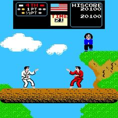 Karate Champ is an incredibly cool arcade game that has no buttons, just joysticks. I have it at my office, addicted. Vintage Video Games, Classic Video Games, Retro Video Games, Karate Games, Playstation, Stand And Deliver, Videogames, Nintendo, Some Games