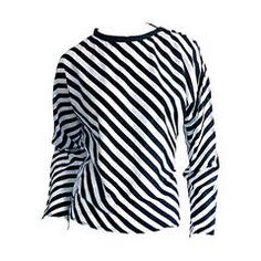 "Vintage Koos Van Den Akker Black & White "" Jail Bird "" Striped Cotton Blouse"