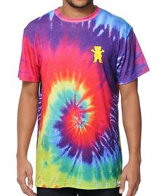 """Get radical with this colorful tie dye sublimated crew neck tee that features a Grizzly bear chest graphic and """"Torey Pudwill"""" script at the upper back."""