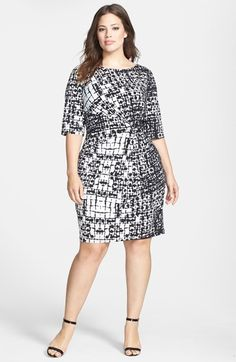 Adrianna Papell Print Gathered Jersey Sheath Dress (Plus Size) available at #Nordstrom