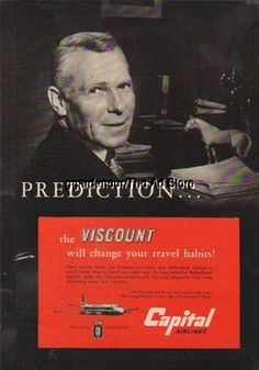 1955 Capital Airlines Viscount - 50s Aviation Advertising Print - Prediction Ad
