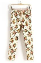 White Drawstring Waist Floral Pockets Pant $31.13