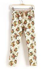 White Drawstring Waist Floral Pockets Pant $31.13