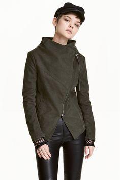 Biker jacket - Khaki green - Ladies | H&M GB