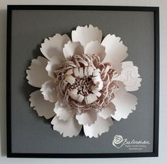 custom initial flower framed paper art piece one of the kind