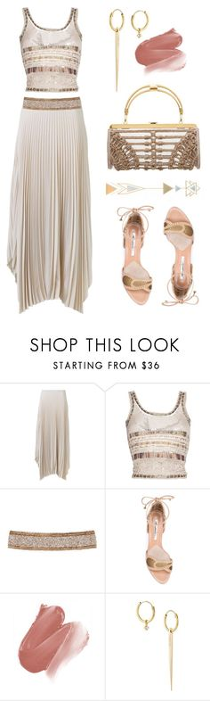 """""""Spring Boho"""" by dominosfalldown ❤ liked on Polyvore featuring Helmut Lang, Etro, Cocobelle, Brian Atwood, Smashbox, Wouters & Hendrix Gold, gold, pleatedskirt and temporarytattoos"""