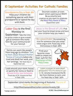 Activities for Catholic Families in September {Free Download}