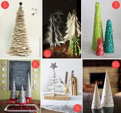 Table-top trees to make. I especially love #5, the printed paper tree.
