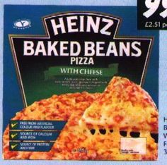 Heinz baked beans pizza with cheese.
