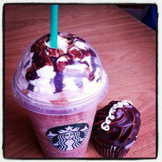 Starbucks mocha frappucino and double chocolate cupcake @Starbucks Loves Secret Menu @Starbucks Loves Loves #starbucks #frappucinos