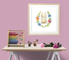 """Bunny Hops is one of the Forest Friends nursery art set, modern wall art, nursery decor, custom add a name print digital instant download, 16"""" x 16"""" 40 x 40cm large poster A3 size  Ready to Print Art  Please note, this listing is for a DIGITAL FILE, no print will be posted to you.   This lovely cute watercolour image of a little rabbit surrounded by colourful flowers makes a lovely gift to welcome a new baby or as nursery wall art.  by Latchfarmstudios"""