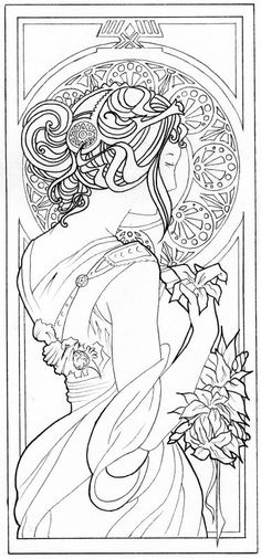 Super art nouveau pattern ideas coloring pages Ideas Alphonse Mucha, Fairy Coloring Pages, Adult Coloring Pages, Coloring Books, Motif Art Deco, Art Nouveau Pattern, Tattoo Painting, Illustrator, Desenho Tattoo