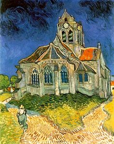 """L'eglise d'Auvers-sur-Oise"" Vincent Van Gogh This is at the Musee d'Orsay in Paris and is one of my favorites."
