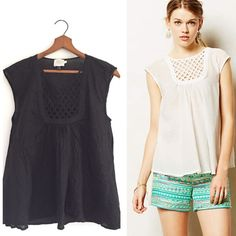 Anthropologie black lattice top A gorgeous lattice neck Anthropologie top by HD in Paris. Stunning detail and flowy fit. Size S. (Could fit medium to large as well) Bust 18 inches. Length 23 inches. Cover shot is the exact top just different color. A beautiful unique top! Anthropologie Tops Blouses