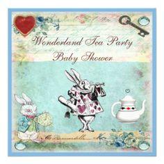 Vintage Alice in Wonderland Baby Shower Tea Party Invite