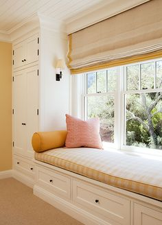 Window seat with closets on both sides to turn office into for Window side seating