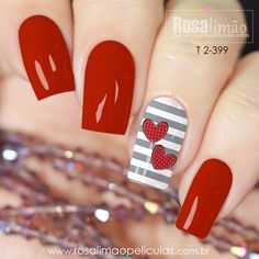50 Cute And Lovely Heart Shape Nail Art Design For You Page 15 of 50 Nails s. - 50 Cute And Lovely Heart Shape Nail Art Design For You Page 15 of 50 Nails should always sparkle! Heart Nail Designs, Ombre Nail Designs, Nail Art Designs, Heart Nail Art, Heart Nails, Red Nail Art, Red Nails, Nail Deco, Romantic Nails