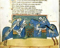 Medieval tournament. Illuminated manuscript; 14th century.  Libreria Marciana, Venice, Italy