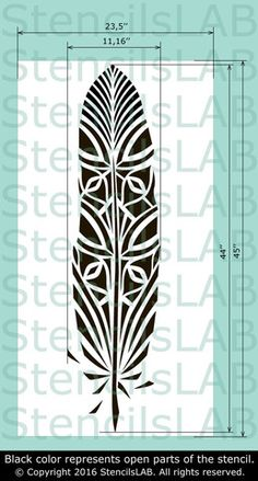 Large Feather Wall Stencil - Wall Stencil