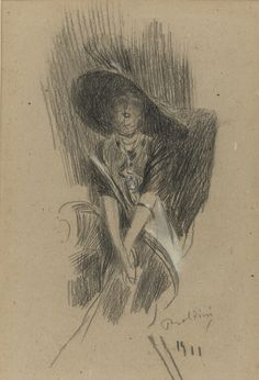 """Giovanni Boldini (Italian, 1842-1931) """"Ritratto di donna col cappello"""" 1911"""