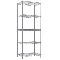 """""""Keep your home organized and clutter free thanks to the storage options from Home Basics. Keep your home organized and clutter free thanks to the storage options from Home Basics. 21"""""""" x 13.8"""""""" x 61"""""""" Weight capacity: 250-lbs. Multi-tiered, freestanding shelving unit keeps kitchen staples, office supplies, decorative bins and more organized and within reach. Each shelf can support a weight capacity of up to 50 lbs. when evenly distributedCONSTRUCTION & CARE Steel Spot clean,Wipe clean… Wire Storage Shelves, Wire Shelving Units, Metal Shelves, Storage Spaces, Shoe Storage, Solid Wood Shelves, Retro, Adjustable Shelving, Cleaning Wipes"""