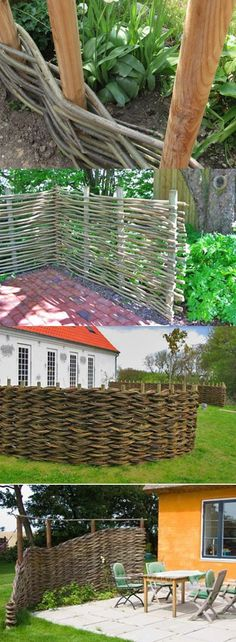 I love the basket weave privacy fences. They are much more natural looking then traditional fences and blend into the landscape.http://media-cache-ec0.pinimg.com/1200x/3e/f9/6f/3ef96f80a10f2cbafa71bfc18cd94b89.jpg #privacylandscape