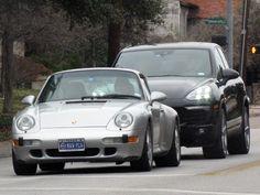 Silver Porsche 911 Black Porsche Cayenne Preston Rd - Dallas, TX (Photo by Bill Orr) #MavPCA #PCA #Porsche #Porsche911 #PorscheCayenne