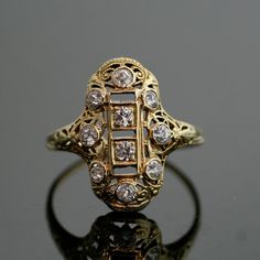 Antique Diamond Filigree Ring  14K Yellow Gold by SITFineJewelry, $2250.00